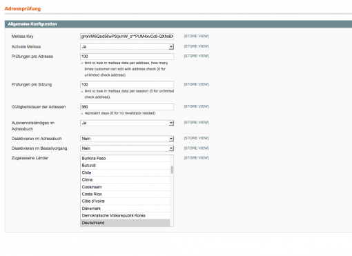 Magento Adresscheck Extention Admin